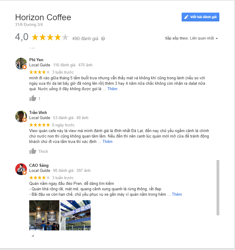 review quán coffee horizon đà lạt