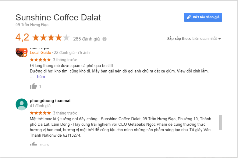review sunshine coffee đà lạt